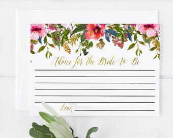 Advice For the Bride To Be Printable Note Card Bridal Shower Cards Bridal Shower Invitation Pink Orange Blue Spring Floral Advice Insert