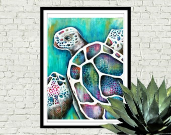 TURTLE : underwater, wall print, beach art, coastal decor art, ocean art, nursery, kids wall art