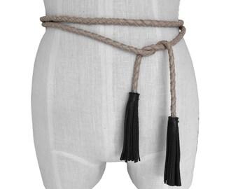 Mano Bello tassel belt Braided leather belt Taupe Black Narrow leather belt Tie belt for dress Coat belt Dress belt Skirt belt Fur coat belt