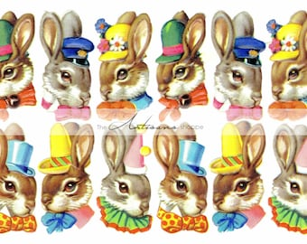 Digital Download Printable - Bunnies Rabbits Characters Collection Printable Art Image - Paper Crafts Scrapbook Altered Art - Easter Bunny