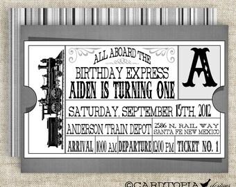Train Ticket BIRTHDAY PARTY Invitations Vintage Retro Black Girl or Boy Printable Digital Design DIY Cards - 109169721