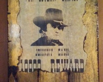 Johnny Cash Wanted Poster Plaque