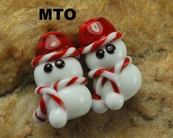 Glass Lampwork Beads,  Made To Order, Snowman, Christmas, Earring Beads SRA #571 by CC Design