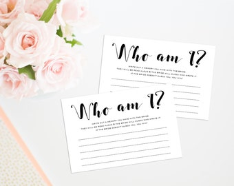 Who Am I Bridal Shower Game, Printable Bridal Shower Game, Printable Memories of the Bride Game, Bridal Shower Ice Breaker