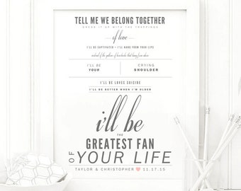 "Edwin McCain ""I'll Be"" - Grey and Blush - Valentine's, Wedding Gift, Paper Anniversary Gift, Song Lyrics, Art Print"