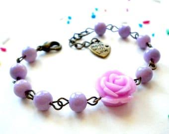 Baby First Birthday Gift Flower Girl Bracelet Spring Flower Girl Jewelry Lavender Bracelet Baby Girl First Birthday Pastel Baby Bracelet