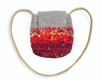 "handbag ""Fall""/knitted/boho/autumn/red - grey/textile ribbons/knitt yarn/lining taffeta/velvet/new wool/murano glass/ethnic/by Elenamoda"