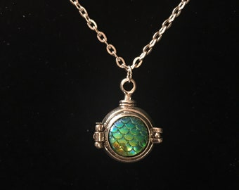 Mermaid Scale Ball Locket Necklace