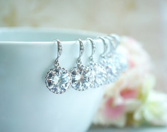 Bridesmaids Wedding Earrings 7, Seven Bridal Earrings, 15% Special Price Round Crystal CUBIC ZIRCONIA Silver Plated Earring Bridesmaid Gift