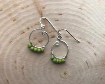 Hammered Silver & Green Hoops