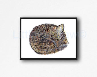 Cat Print Sleepy Tabby Cat Art Print Watercolor Cat Art Cat Painting Watercolour Wall Art Watercolour Unframed Wall Decor