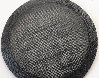 Round Fascinator Base // Sinamay Disc // Small Hat Trimming // Millinery Supplies - Black
