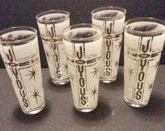 Vintage Mid Century Christmas Holiday Glasses Tumblers High Balls Joyous Noel Gold Gilt