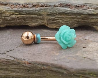 Teal Green Rose Gold Rook Earring Daith Piercing Eyebrow Ring