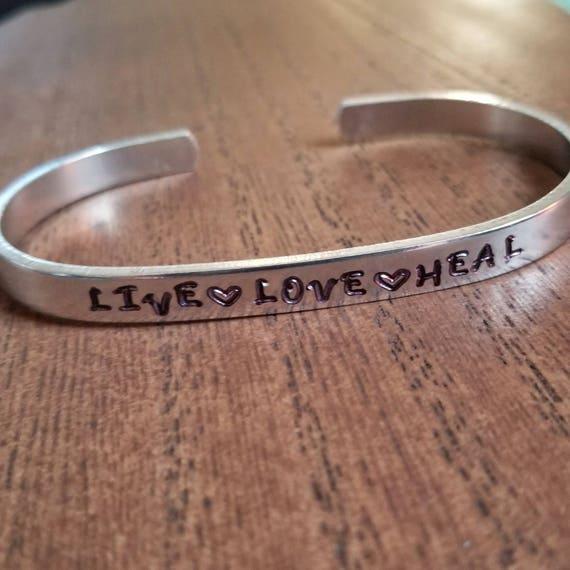 Live, Love, Heal Hand Stamped Bracelet