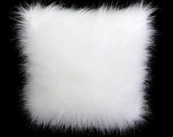 "Decorative Pillow case, White color faux Fur fabric Throw pillow case, fits 16"" x 16"" insert, Toss pillow case, Cushion case."