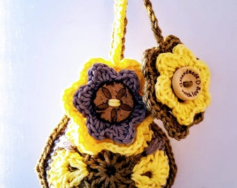 THE SOBER GIRL; African flower crochet keychain; Bag pendant; VerLen Crochet; Ready to ship