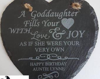 Goddaughter Gift, Godson, Birthday, GodChild, Engraved Heart Slate Gift, God Parent Gift
