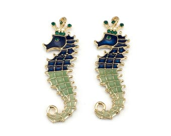 2 seahorse  enamel and gold tone charm 19mm x 48mm #CH 288