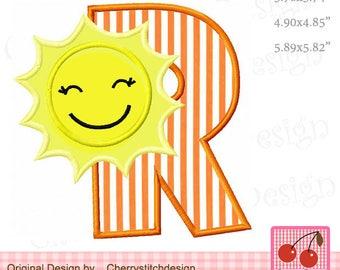Sunshine Monogram R Letter R Alphabet Embroidery applique