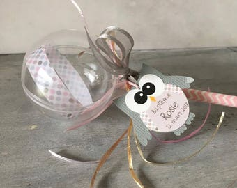 Plastic 10 lollipops for sweets theme OWL - grey and pink