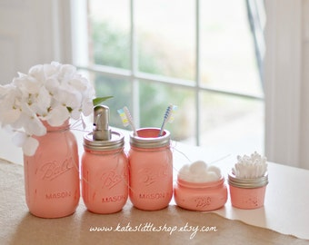 Mason Jar Bathroom Kit. PEACH. Ball Mason Jars. Rustic Home Decor.Painted Jars Farmhouse Bathroom Decor. Bathroom Soap Dispenser. Rustic.