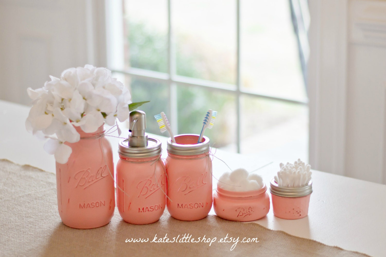 Mason Jar Bathroom Kit. PEACH. Ball Mason Jars. Rustic Home