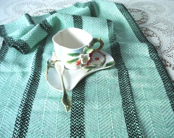Kitchen towel, hand woven, cotton towel, dish towel, tea towel, Spring Green