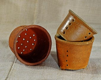 Vintage French cheese strainer, pottery, stoneware faiselle mould, drainer.  Kitchen storage, garlic bowl.