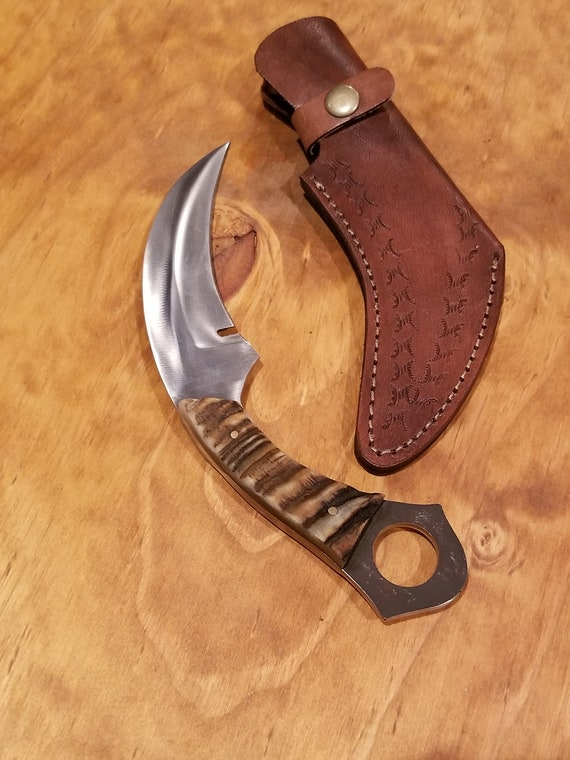 Ram Horn Handle Hunting Knife D2 Steel Karambit Blade Collection With Sheath Outdoors Scythe (K54)