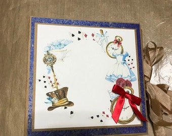 Alice in Wonderland Themed Mini Scrapbook Album Complete Just add Pics