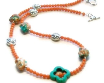 Skull Necklace  - Day of the Dead - Dia de Muertos - Coral Skull Necklace - Skull Jewelry - Coral and Turquoise Skull Necklace