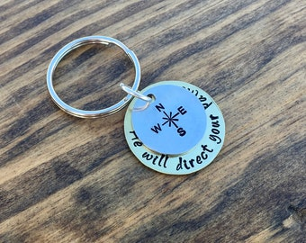 Proverbs 3:5-6 Compass Keychain, He will direct your paths hand stamped key ring