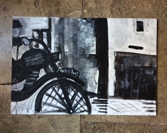 """Vintage french ARTIST """"Outside"""" acrylic Painting on canvas - Nice Original Composition - Black & White Work - Artist Signed - from France"""