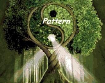 Yin Yang Tree. Cross Stitch Pattern. PDF Files.
