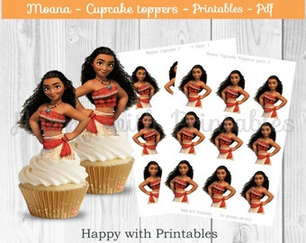 Moana cupcake Toppers - Moana cake toppers - Moana party - Moana birthday printable - Princess Moana topper - Moana printable - Maui