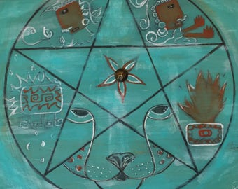 Retablo Folk Art - Proceeds Benefit Animal Rescue, Game Board, Rustic, Dragon Game, Soliatire, OOAK
