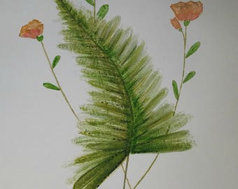 Original watercolor fern and wildflowers