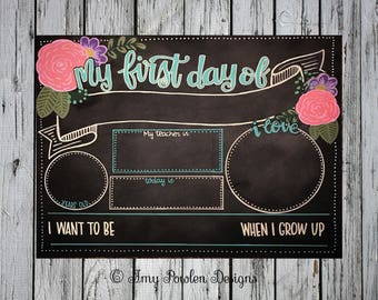 Reusable Hand-painted floral first day of school chalkboard/Personalized Photo prop