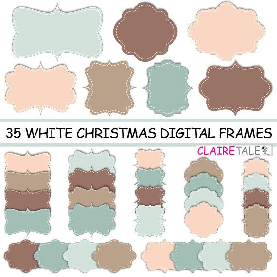 "Digital clipart labels: ""WHITE CHRISTMAS FRAMES"" clipart frames, labels, tags for scrapbooking, cards, invitation, stationary, albums"