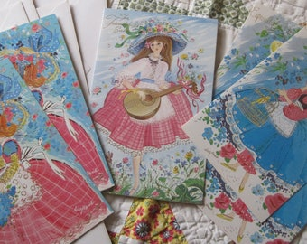 Six Adorable Vintage Thinking of You Greeting Cards with Retro Girls Unused with Envelopes