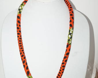 Alaygeh African print rope necklace/ Gift for her/ Fabric covered necklace/ Shower gifts/ Statement Piece/ Bold Jewelry