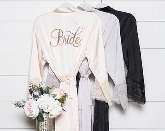 Satin & Lace Robe - Bridal Robe - Bridesmaid Robes - Bridesmaid Gift