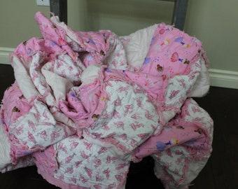 Twin Size Rag Quilt in a Pink Ballet Theme Ballerina Home Decor Kids bedroom Decor Girl Birthday Gift Quilt Bedding Ballet Shoes Girl Gift