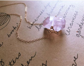 Rose Quartz Necklace  - Crystal Necklace - Crystal Healing Necklace - Rose Quartz - Raw Crystal Necklace - Rose Quartz Jewelry