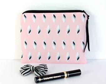 Trousse à maquillage en coton, coloris rose et noir