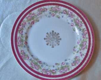 Austrian Hand Decorated Dessert Plate,Pink Floral Motif with Gold Trim. Chinese New Year, Wedding Gift, Housewarming Gift, Christmas Gift
