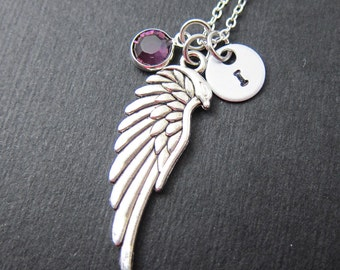 Phoenix Wing Necklace - Custom Couple's Necklace, Personalized Initial Name, Swarovski crystal birthstone