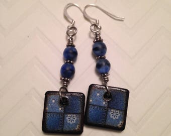 Denim blues on wood tiles with glass beads dangle earrings