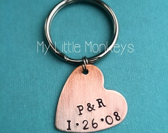 7th Wedding Anniversary Gift - Copper Gift - Custom Hand Stamped Heart Keychain